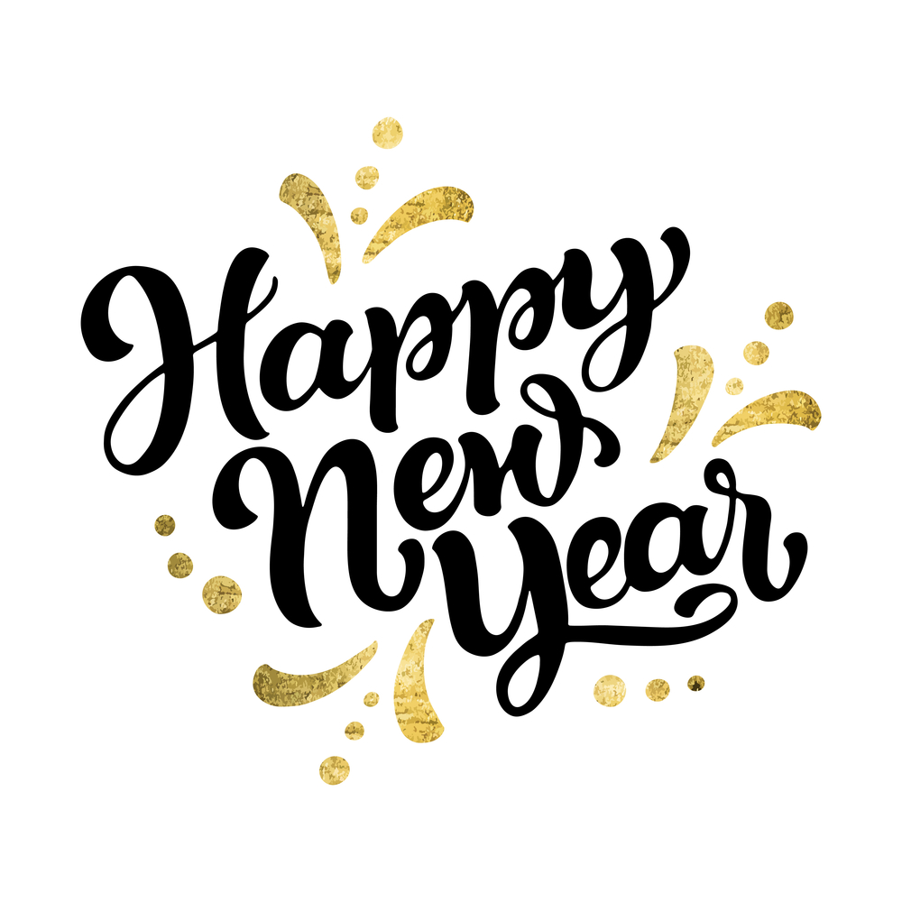 Hand lettering 'Happy New Year' for greeting card or poster