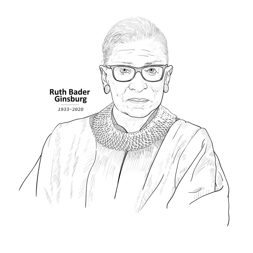 September 25, 2020 Drawing portrait of United States Supreme Court Justice, Ruth Bader Ginsburg, vector illustration.